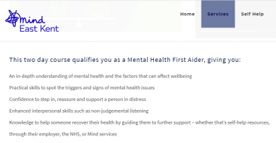Screenshot from Mind East Kent about Mental Health First Aider training