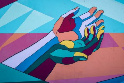 Two hands to illustrate mental health