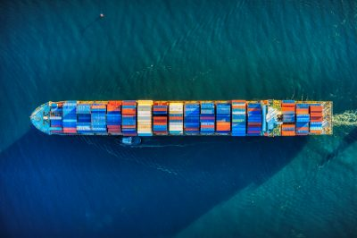 aerial image of a container ship