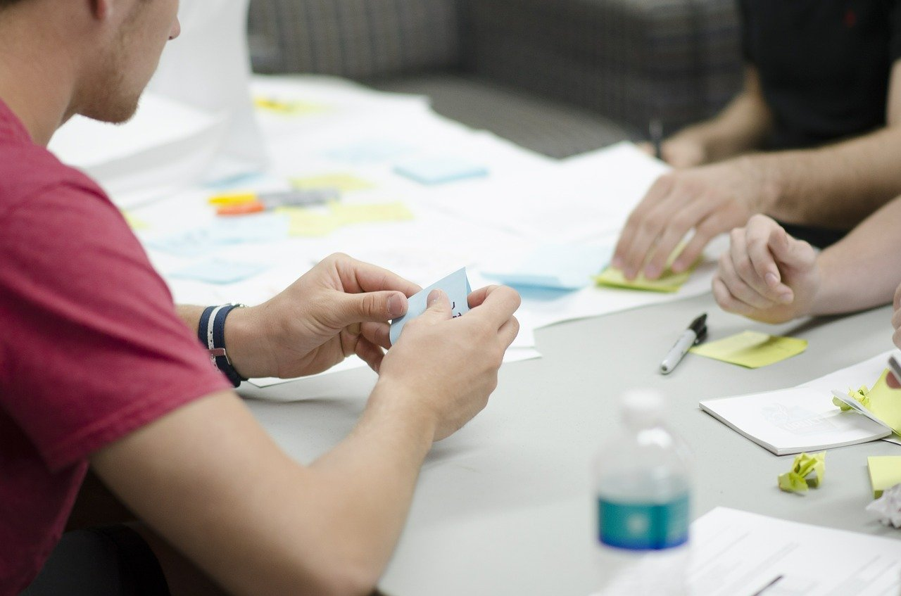 Image of group work in an interview about careers
